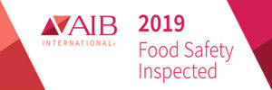 AIB Certified food grade warehouse services logo.
